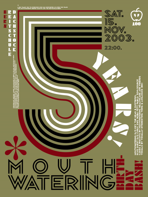 5 Years Mouthwatering party poster and flyer 2003