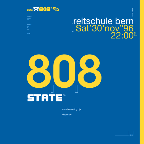808 State concert poster and flyer 1996