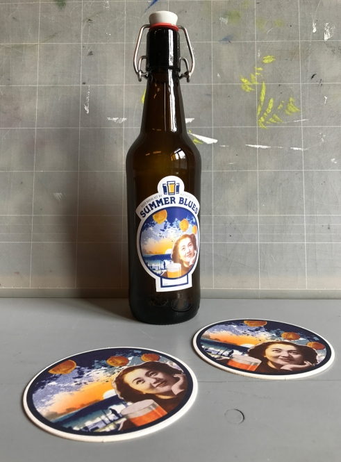 Beer Brew bottle sticker and beermat