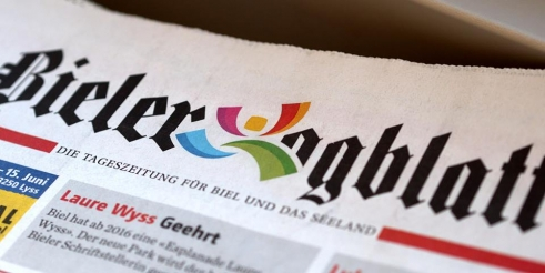 Eidgenössisches Turnfest 2013 logotype on Bieler Tagblatt header