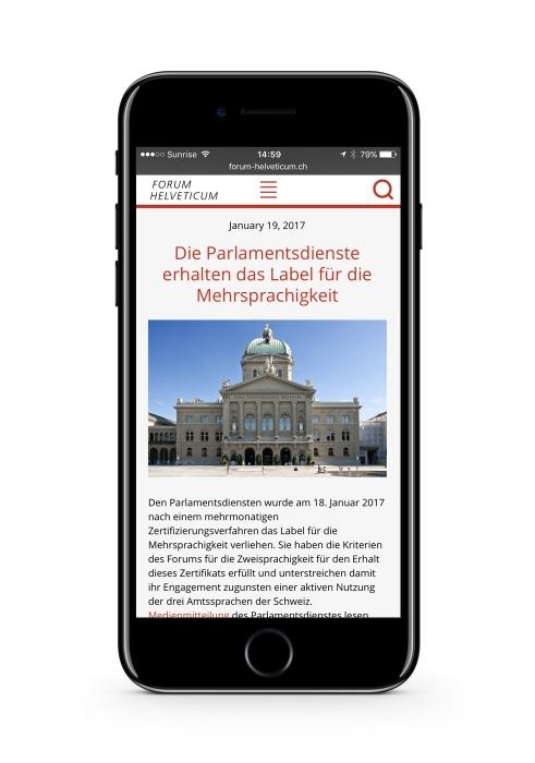 Forum Helveticum website mobile