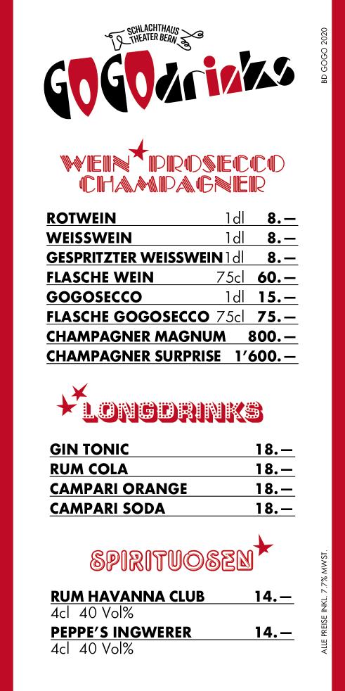 GoGo Drinks beverage list