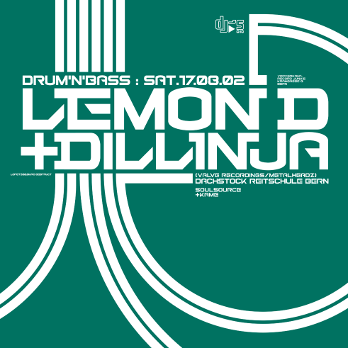 DJ's Lemon D & Dillinja dj set poster and flyer 2002