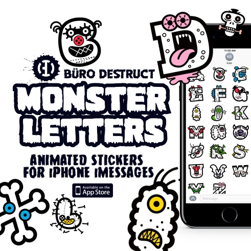 BD Monster Letters animated sticker app for iMessage, iOS