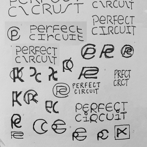 Perfect Circuit logotype sketches
