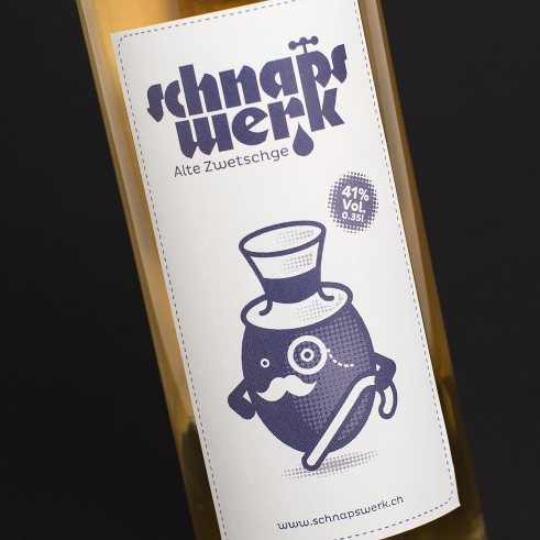 Schnapswerk fruit liquor label Old Prune