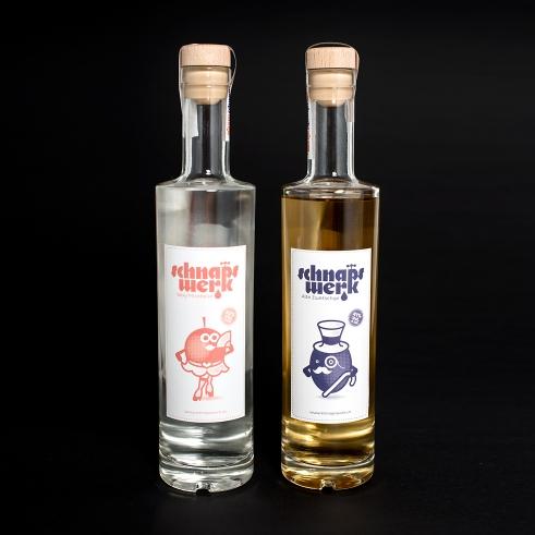Schnapswerk fruit liquor logotype and characters