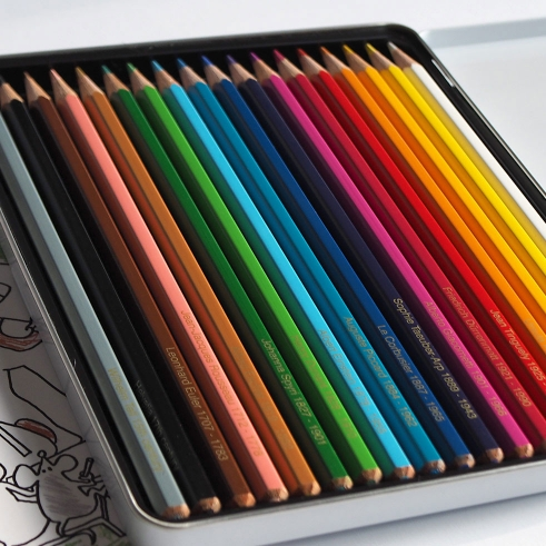 Swiss Coloring Book crayons