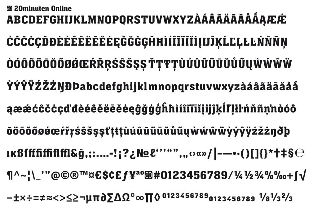 20 Minuten online custom font glyphs