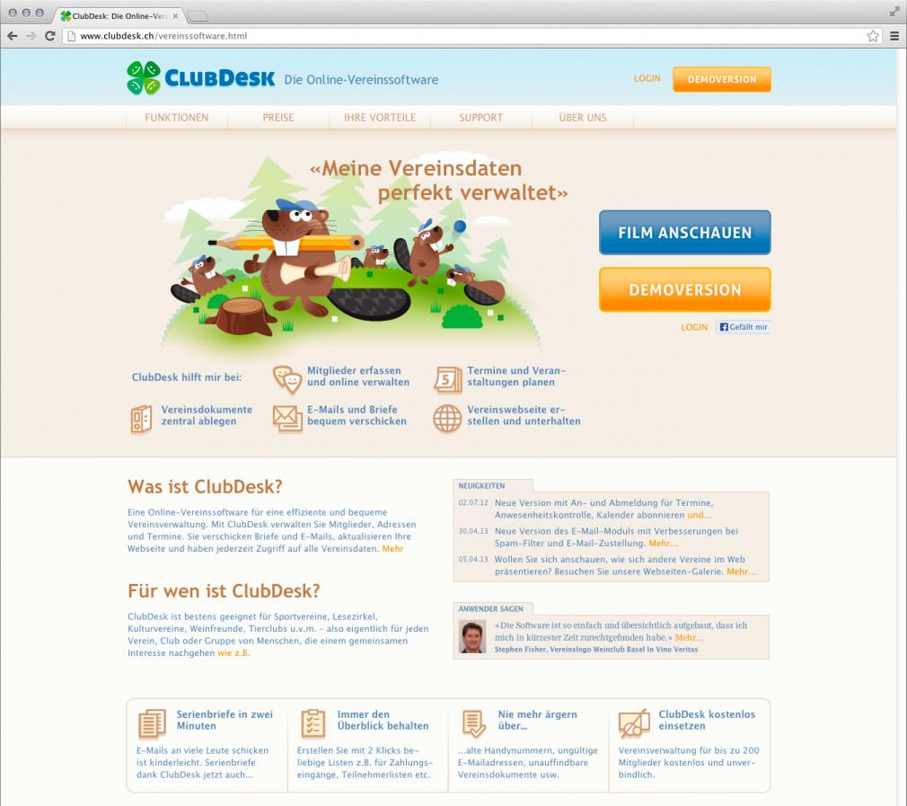 ClubDesk webdesign