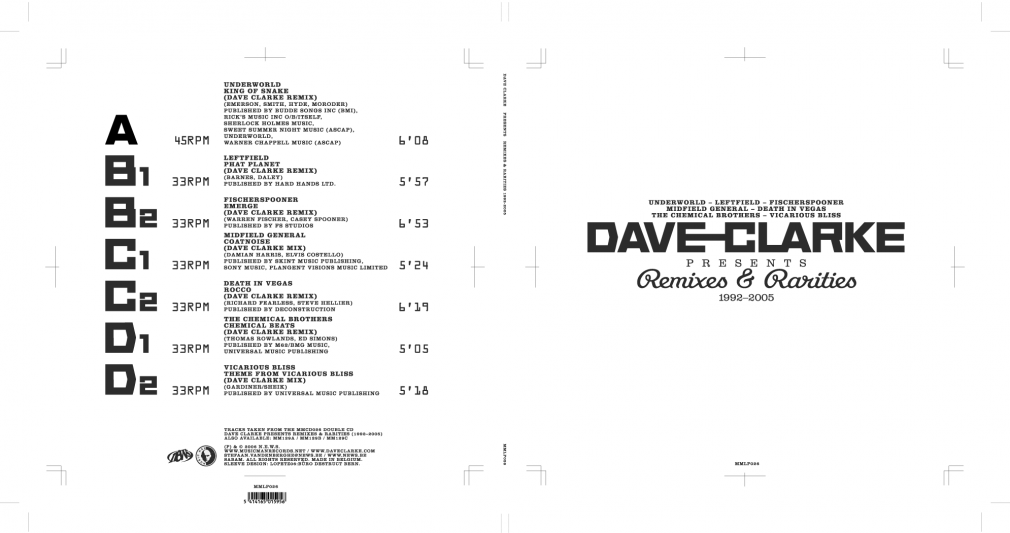 Dave Clark Remixes & Rarities album sleeve MMLP026