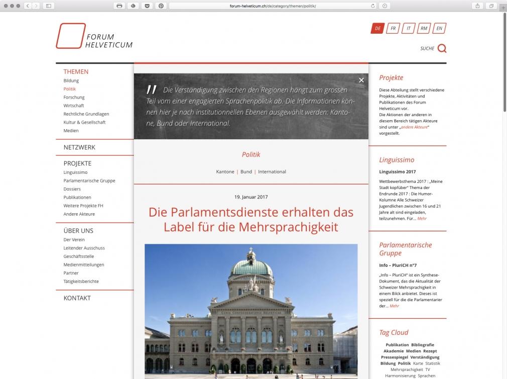 Forum Helveticum website
