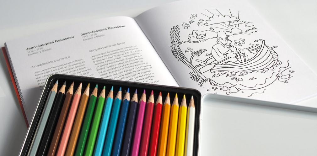 Swiss Coloring Book crayon box and spread