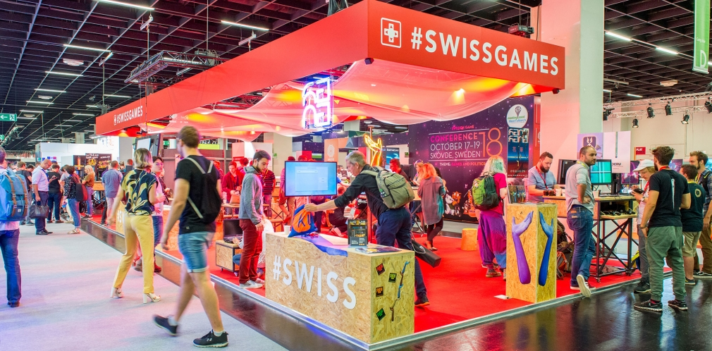 SwissGames booth at Gamescom 2018