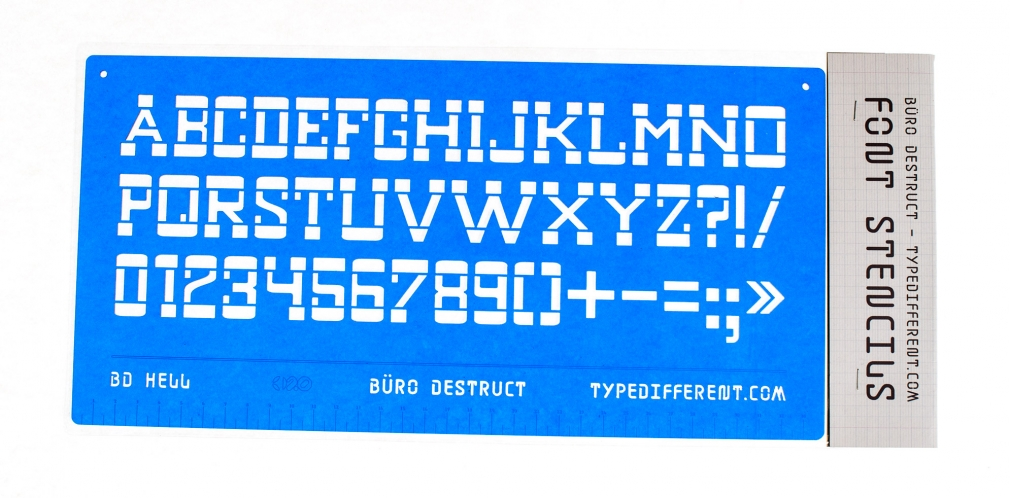 typedifferent font BD Hell stencil packed