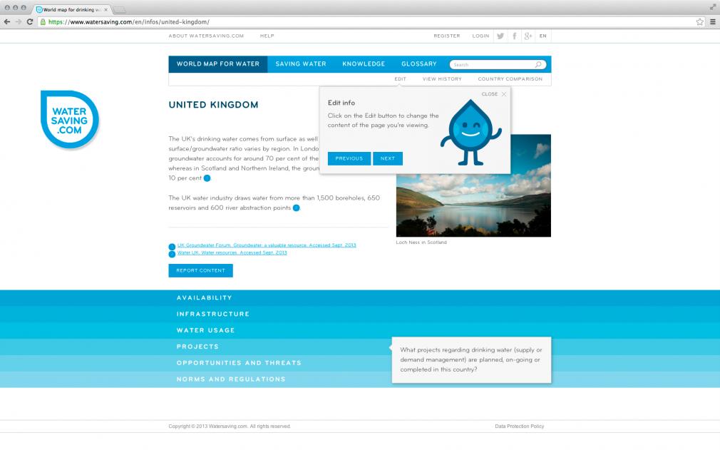 Watersaving website